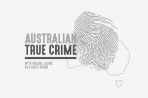 australian true crime logo black and white